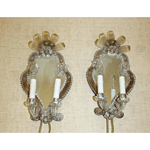 Gold 1920s Venetian Italian Mirrored Wall Sconces - a Pair For Sale - Image 8 of 12