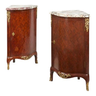 French Louis XV Style Parquetry Ecoignures Cabinets- A Pair, 19th Century For Sale