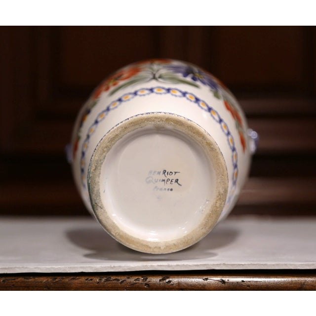 Blue Tall Early 20th Century French Hand-Painted Faience Vase Signed Henriot Quimper For Sale - Image 8 of 9