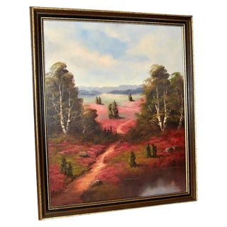 1940s Vintage Signed American Landscape Oil Painting For Sale