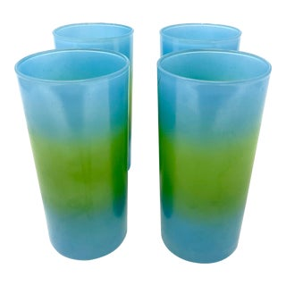 Set of Four Blue and Green Tropical Fade Highball Glasses For Sale