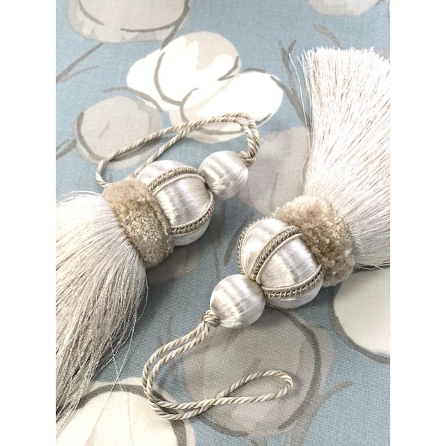 Ivory Key Tassels W Cut Velvet Ruche - a Pair For Sale - Image 9 of 11