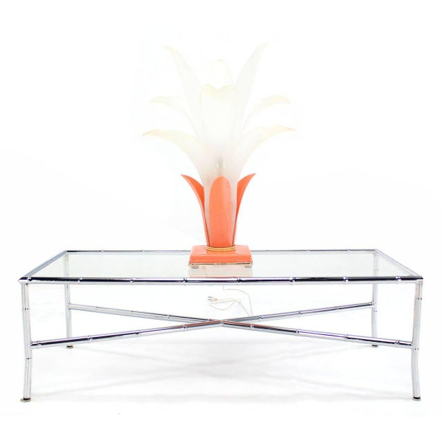 Bronze Molded Acrylic Lotus Flower Table Lamp For Sale - Image 7 of 9