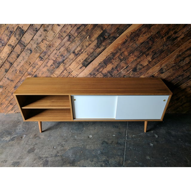 Custom Teak Mid Century Style Credenza For Sale In Los Angeles - Image 6 of 8