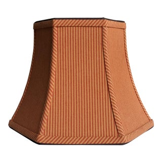 Hickory Ticking Stripe Brick Red Brown Hexagon Bell Uno Lamp Shade For Sale