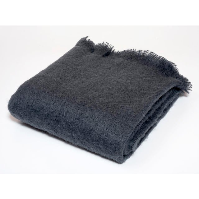 Contemporary Contemporary Charcoal Luxe Mohair Throw For Sale - Image 3 of 3