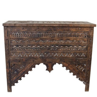Vintage Moroccan Wooden Hand-Carved Trunk With Lid For Sale