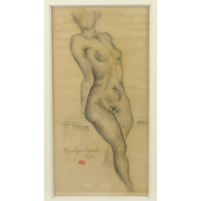 1934 French Marie Louise Simard Nude Female Study Pencil Drawing - Image 4 of 10