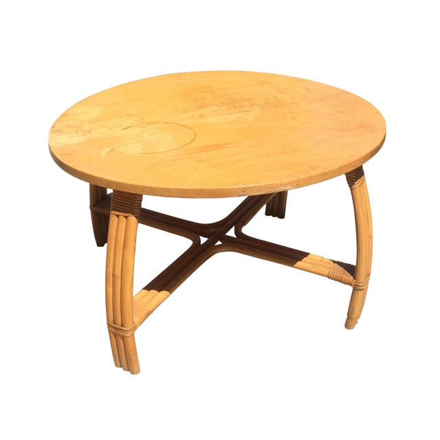 Mid-Century Rattan Coffee Table - Image 1 of 3