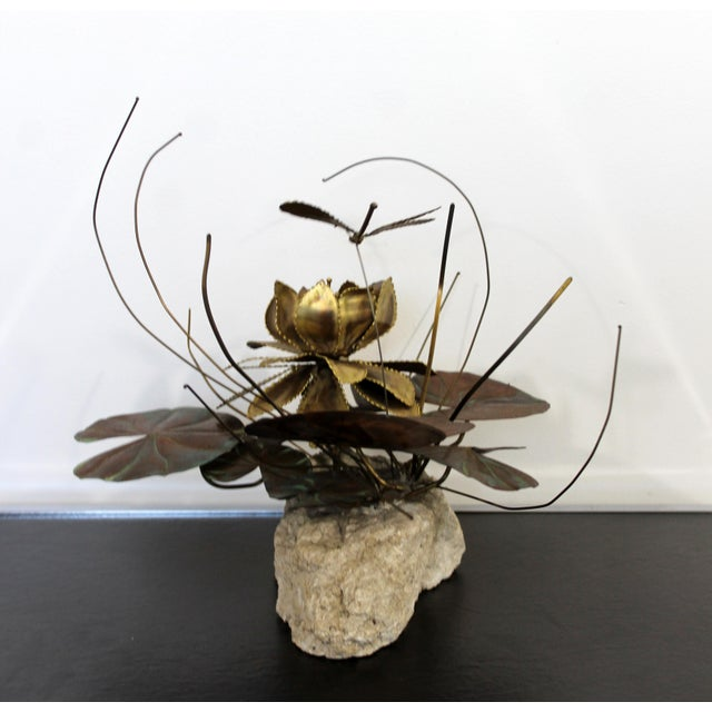 Curtis Jere Mid Century Modern Brutalist Brass on Stone Table Sculpture Water Lily Jere Era For Sale - Image 4 of 8