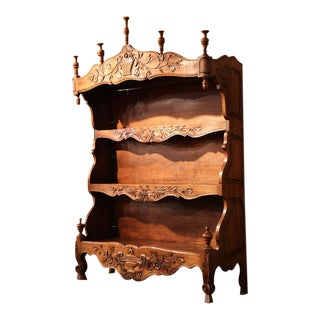 19th Century French Louis XV Carved Walnut Estanier Shelf