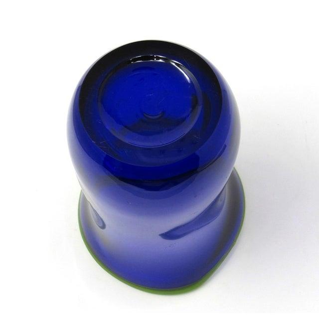 Hand Blown Freeform Cobalt Art Glass Vase For Sale - Image 9 of 11