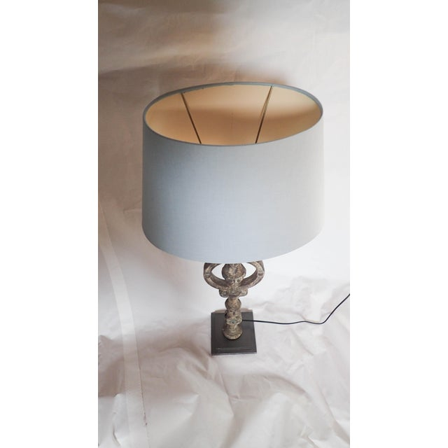 Antique French Architectural Iron Lamp For Sale - Image 4 of 5