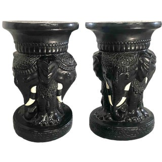 1980s Vintage Ceramic Garden Stools Chinoiserie Elephants - a Pair For Sale