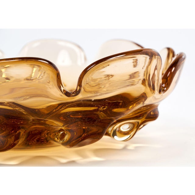 Circa 1950 Murano Glass Amber Bowl For Sale In Austin - Image 6 of 10
