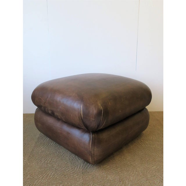 George Smith Postmodern Brown Leather Ottoman by George Smith, Ca. 1990s For Sale - Image 4 of 11