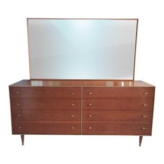 1960's Mid-Century Modern R-Way Walnut Finish Veneer Dresser and Mirror
