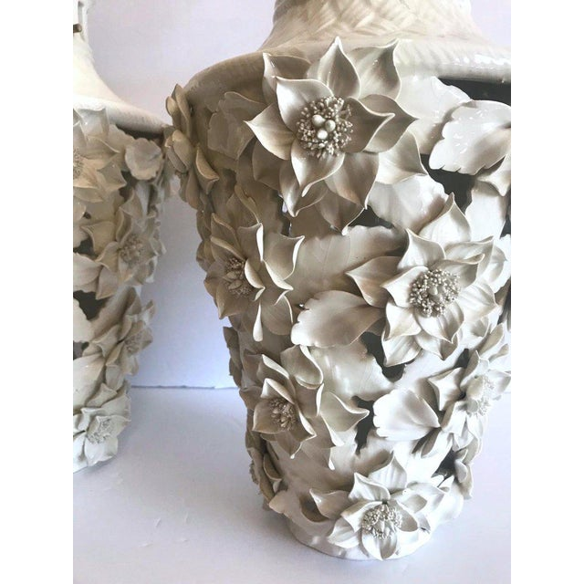 1960's Italian Blanc De Chine Floral Ceramic Pendant Lights For Sale In New York - Image 6 of 13