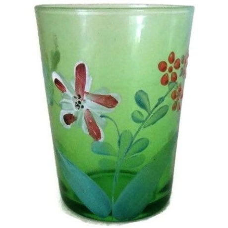 Late 19th Century Antique Victorian Green Floral Hand Painted Glass Tumbler For Sale - Image 5 of 5