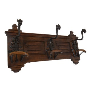 19th-Century Oak & Steel Coat/Hat Rack For Sale