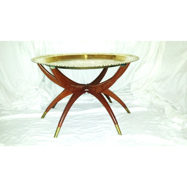 Round Chinese Brass Tray Table, MCM Teak Legs - Image 2 of 10