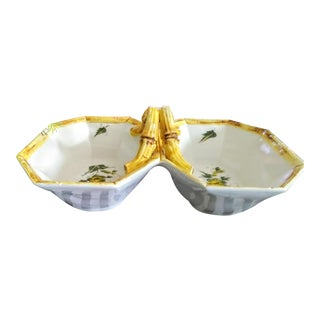 Italian Double Deep Ceramic Faux Bamboo Bowl Server For Sale