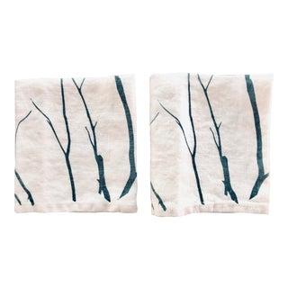 German Linen Napkins - Blue Branch, a Pair For Sale