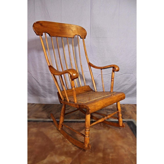 Brown Spindle Back Caned Seat Rocking Chair For Sale - Image 8 of 11