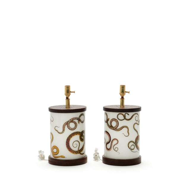 Sinewy Serpents Allover Pattern Table Lamps A Pair
