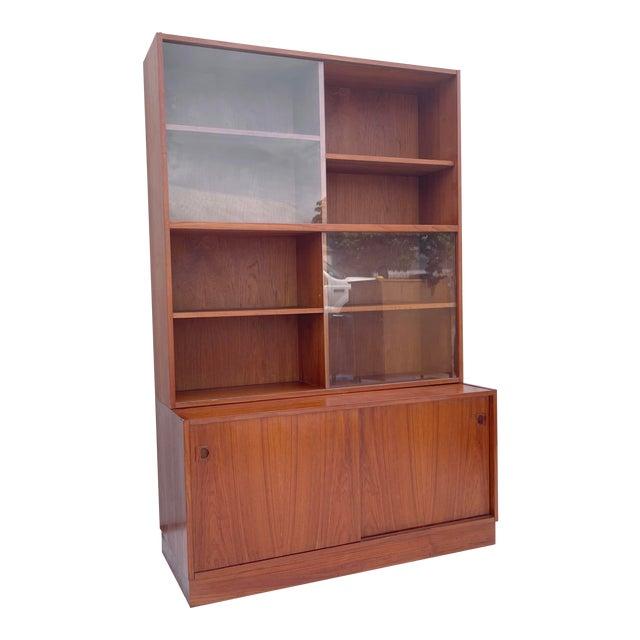 Mid-Century Teak Bookshelf With Cabinet For Sale