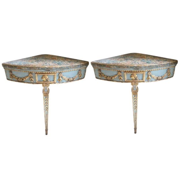 Gold 18th Century Neapolitan Consoles Pair For Sale - Image 8 of 8