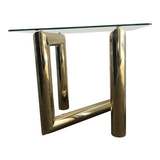 1970s Mid Century Modern Tubular Brass Zig Zag Sculpture End Table For Sale