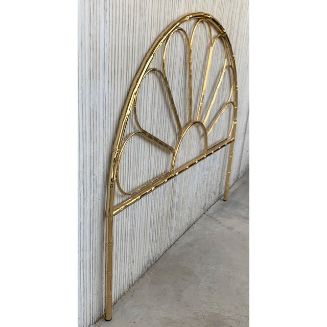 About Mid-Century Modern Italian Faux Bamboo Gilt Metal Queen Headboard Details OF THE PERIOD Mid-Century Modern PLACE OF...