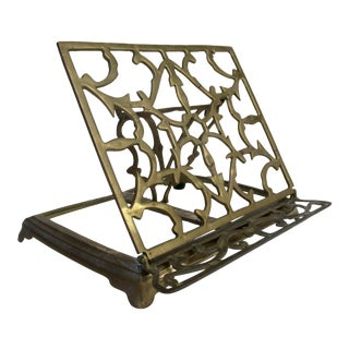Vintage Ornate Brass Book Holder For Sale