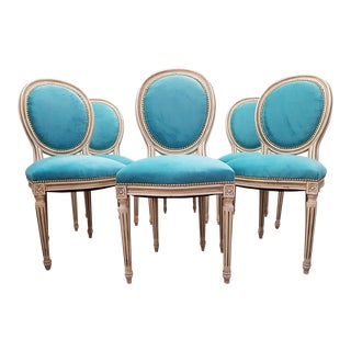 Antique French Reupholstered Whitewashed Louis XVI Medallion Dining Chairs - Set of 6 For Sale