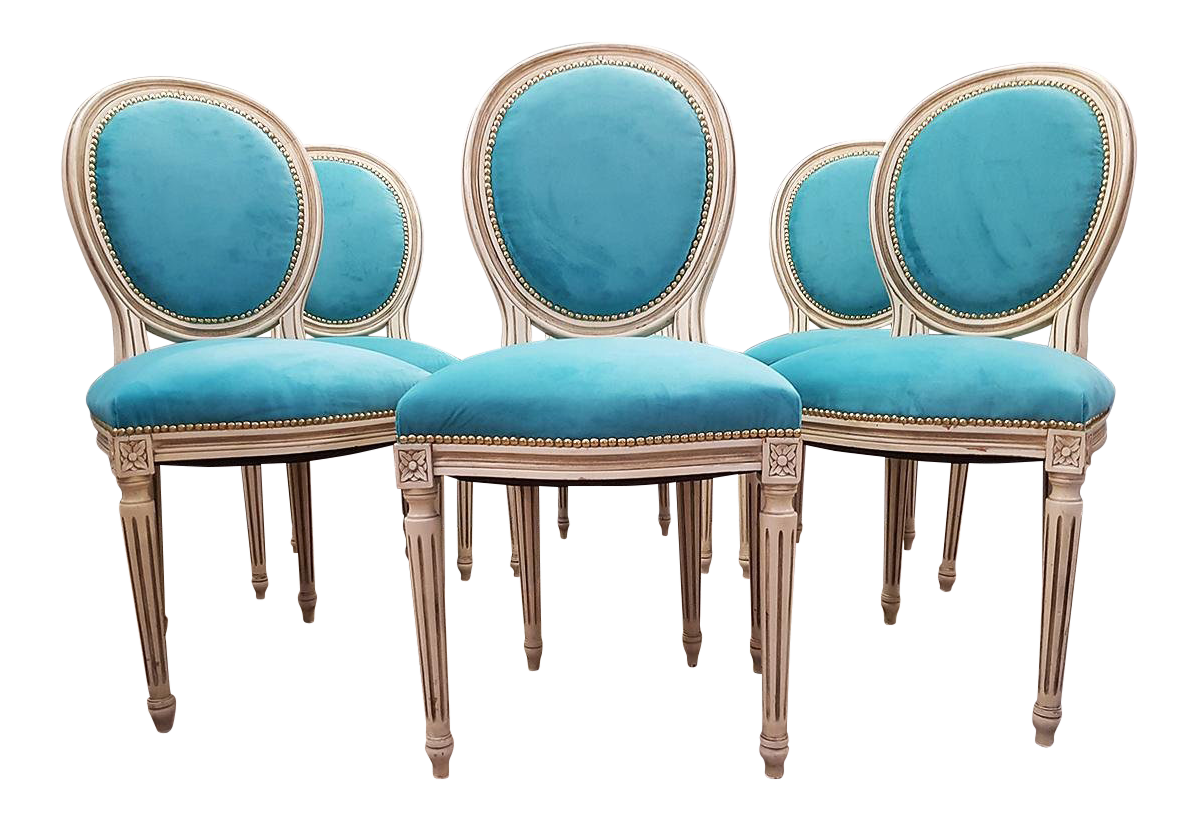 Antique French Reupholstered Whitewashed Louis XVI Medallion Dining Chairs    Set Of 6
