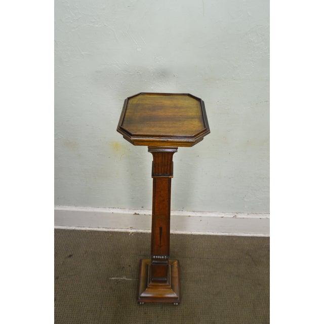 Gold Art Nouveau Vintage 1930s Custom Mahogany Inlaid Pedestal For Sale - Image 8 of 13