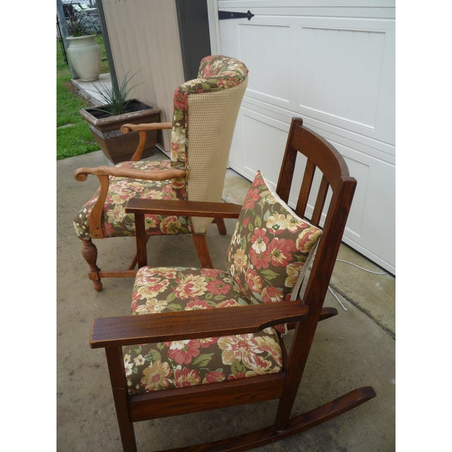 Brown Antique Brown Floral Tufted Armchair & Petite Oak Rocking Chair - A Pair For Sale - Image 8 of 9