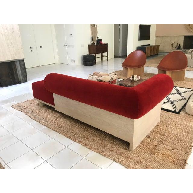 Modern Velvet Chaise Sofa - Image 2 of 7