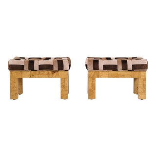 Pair of Paul Evans Upholstered Stool For Sale