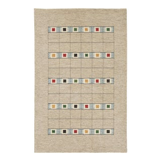 """Mid 20th Century Swedish Flat Weave Rug - 6'3"""" X 9'10"""" For Sale"""