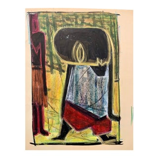 """Donald Stacy """"Mark"""" C.1950s Oil Pastel & Gouache Mid Century Drawing For Sale"""