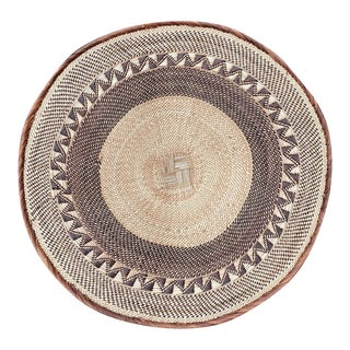 Antique African Batonga Basket Made With Fibers From Zimbabwe For Sale