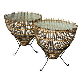 Franco Albini Fish Trap Mid Century Tables - a Pair For Sale