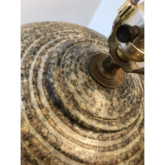 Mid-Century Modern Vintage Studio Pottery Lamp Signed by the Artist For Sale - Image 3 of 11