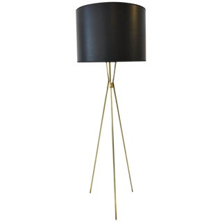 1950s Mid-Century Modern Gerald Thurston for Lightolier Brass Tripod Floor Lamp