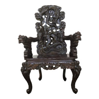 Late 19th Century Dragon Armchair For Sale