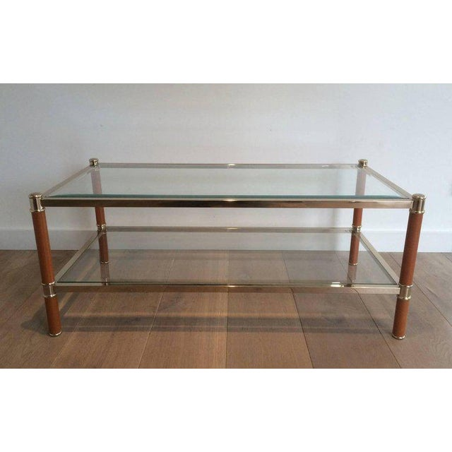 French Gilt Brass and Leather Coffee Table by Lancel For Sale - Image 3 of 11