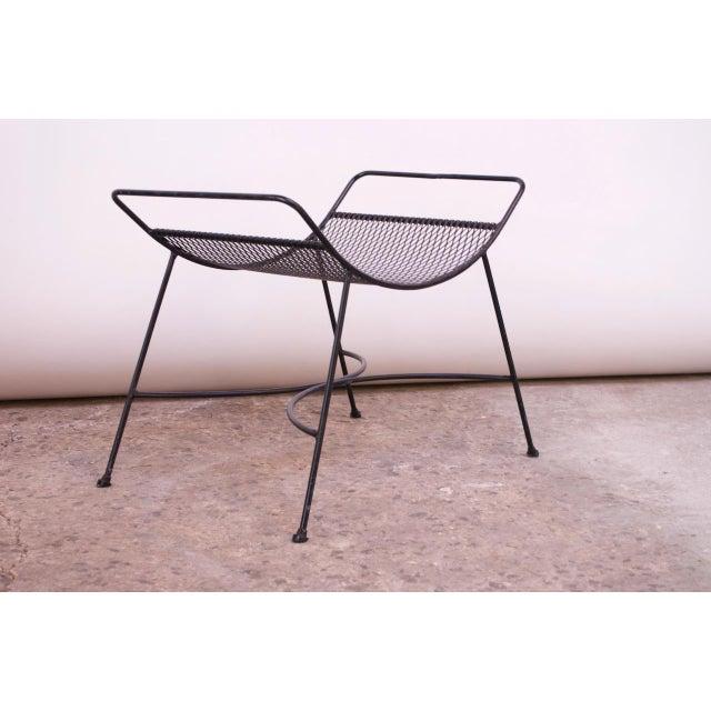 Metal Mid-Century Modern Iron Footstool / Ottoman For Sale - Image 7 of 12