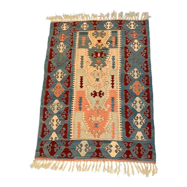 Blue and Coral Kilim Rug- 3′8″ × 5′2″ For Sale